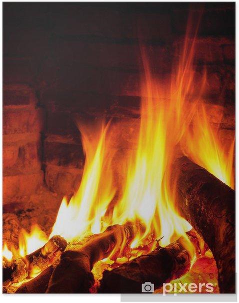 Poster Flamme vive dans la cheminée - Textures