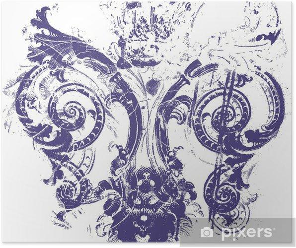 Poster Fleur de lys symbole - Textures