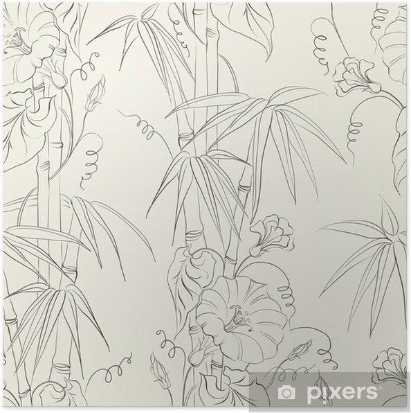 Poster Fleur et de bambou liseron. - Plantes