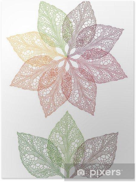 Poster Fleur feuilles coloré, vecteur - Fleurs