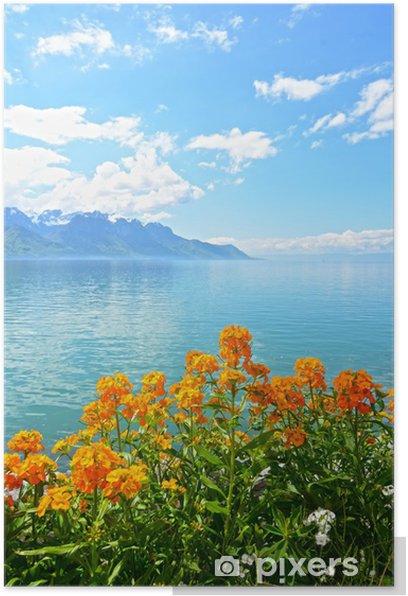 Poster Fleurs contre les montagnes et le lac de Genève - Saisons