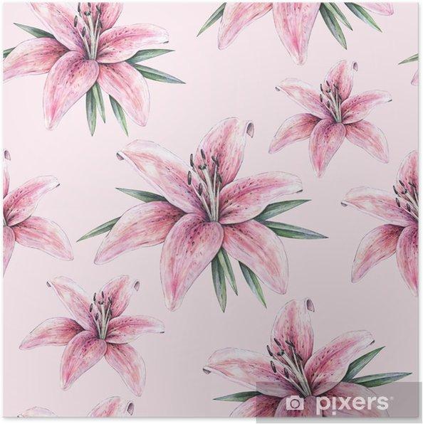 Poster Fleurs De Lys Rose Isoles Sur Fond Rose Illustration De