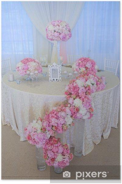 Poster Fleurs de mariage blanc et rose - Fleurs