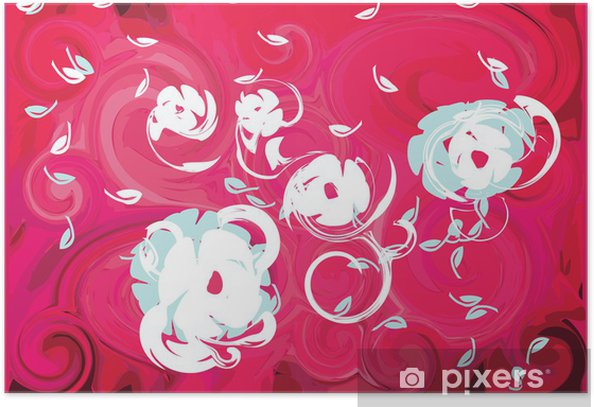 Poster Fleurs de printemps fuchsia de vent rose fond feuille - Fleurs