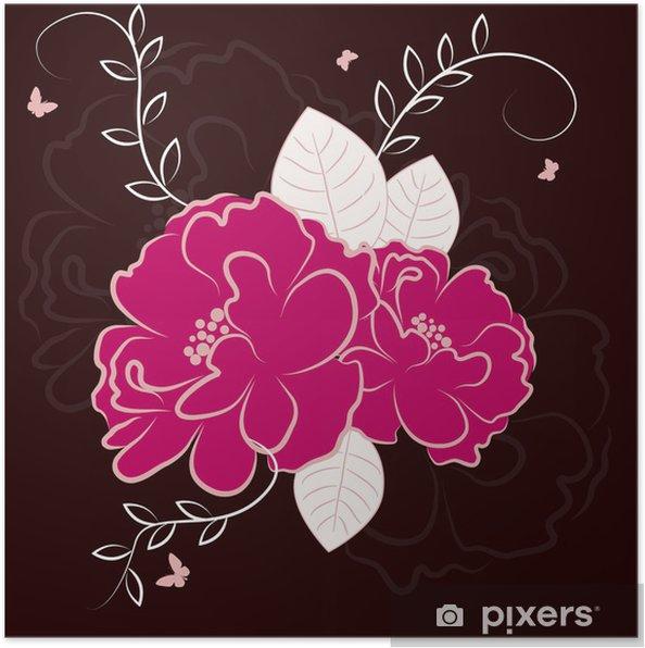 Poster Fleurs roses - vecteur de fond floral - Arrière plans