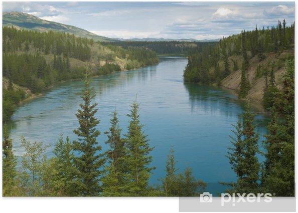 Poster Fleuve Yukon au nord de Whitehorse au Yukon T Canada - Amérique