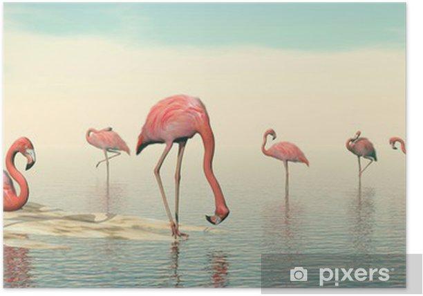 Flock of pink flamingos - 3D render Poster - Birds