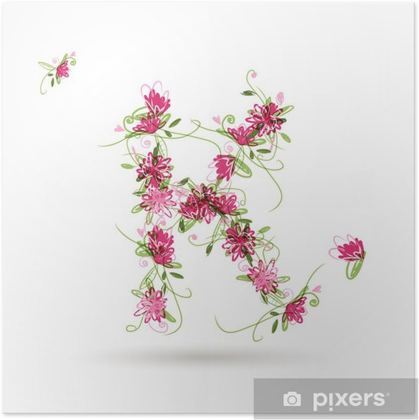 Poster Floral lettre K pour votre conception - Signes et symboles