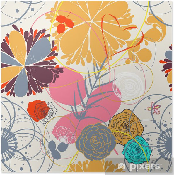 Poster Floral seamless pattern in retro style - Bonheur