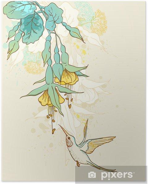 Póster Flores y colibrí- • Pixers® - Vivimos para cambiar