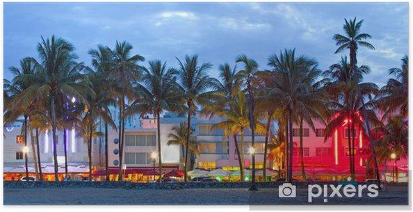 Poster Florida hotell och restauranger i solnedgången Miami Beach, - Palmträd