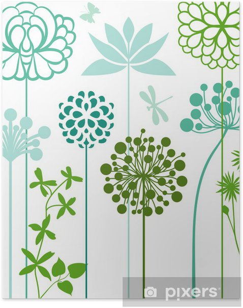 Flower bed in blue Poster - Plants