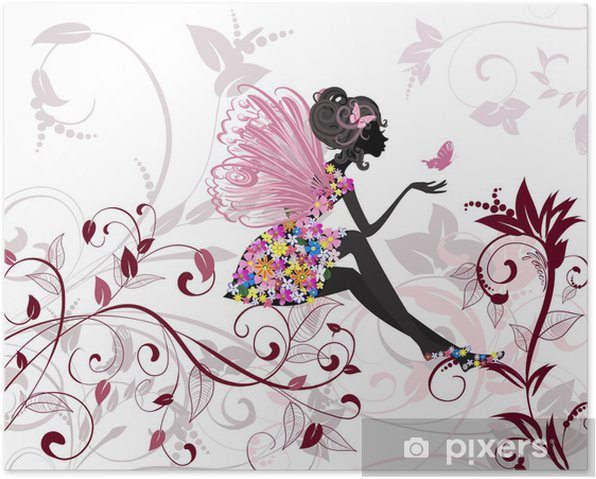 Flower Fairy with butterflies Poster -