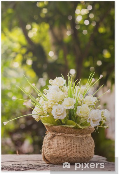 flower on wooden table. Poster - Flowers