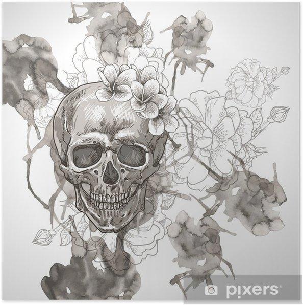 Poster Fond abstrait avec le crâne, Ailes et fleurs - Fleurs