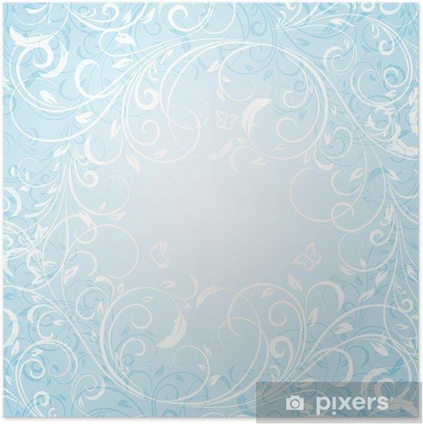 Poster Fond Bleu Floral - Arrière plans