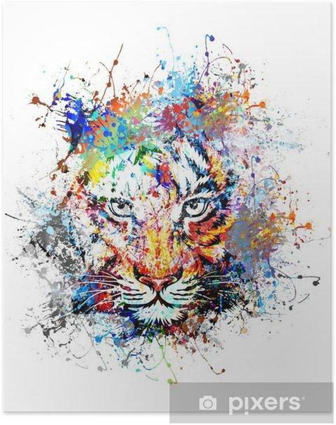 Poster Fond clair avec le tigre - science &; nature