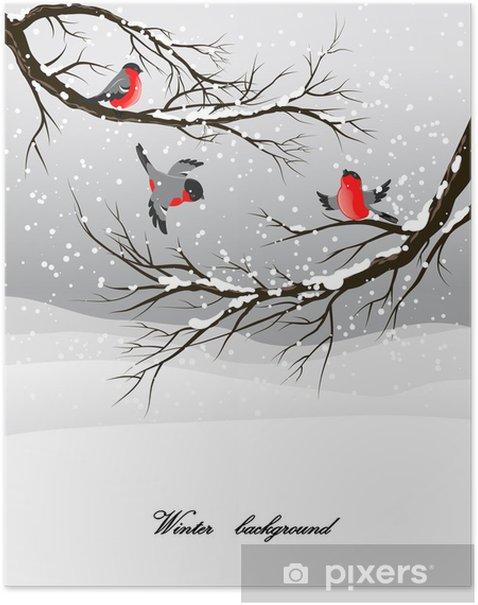 Poster Fond d'hiver avec bouvreuil - Saisons