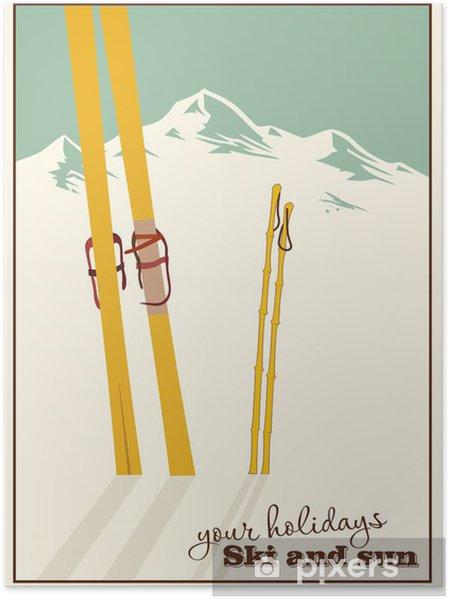 Poster Fond de l'hiver. Montagnes et du matériel de ski dans la neige - Situations