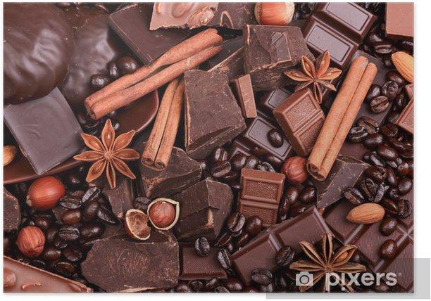Poster Fond des parts de chocolat, café, noix et épices - Thèmes