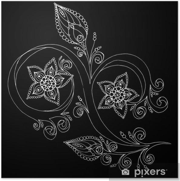 Poster Fond floral décoratif avec des fleurs. - Situations