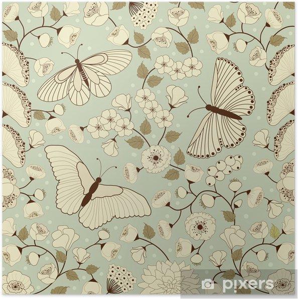 Poster Fond motif floral - Autres Autres
