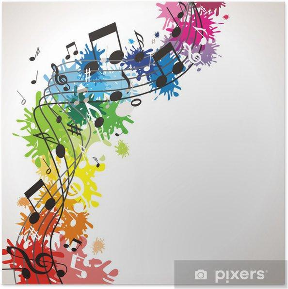 Poster Fond musical coloré - Musique