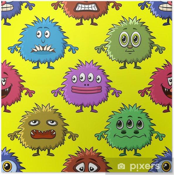 Poster Fond transparent pour votre conception avec différents monstres de dessin animé, motif de carreaux coloré avec des personnages drôles mignons. vecteur - Ressources graphiques