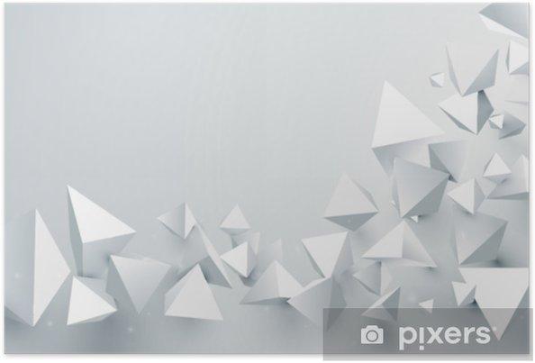 3687946b111 Póster Fondo caótico de las pirámides abstractas del blanco 3d. ilustración  vectorial