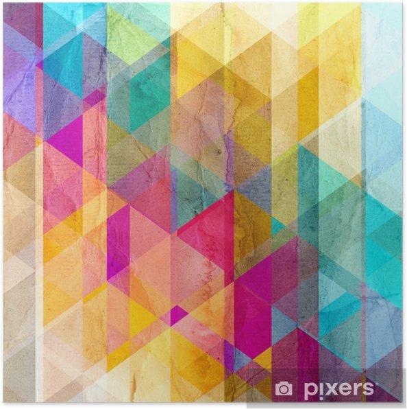 Póster Fondo de la acuarela geométrica con triángulos - Recursos gráficos