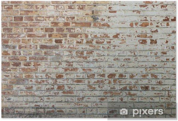 Póster Fondo de la pared de ladrillo sucio de época antigua con yeso pelado - Temas