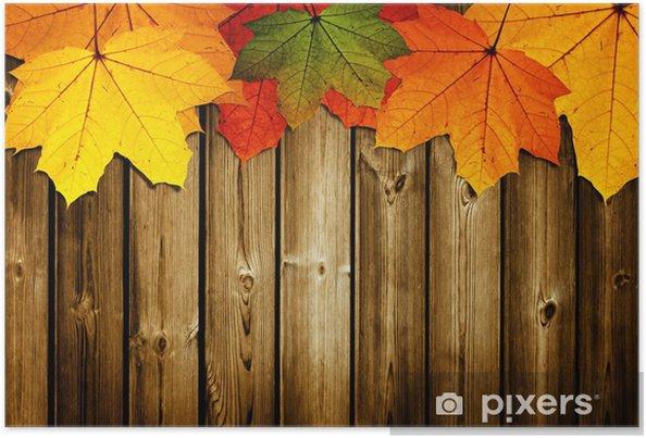 Póster Fondo de madera con hojas de arce - Estaciones