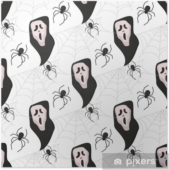 póster fondo de vector de halloween de patrones sin fisuras fondo de