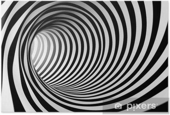 Póster Fondo espiral abstracta 3d en blanco y negro - Estilos