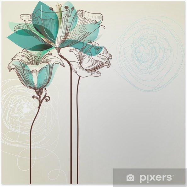 Póster Fondo Floral Retro - Estilos