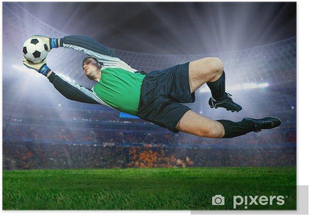 Football goalkeeper in action on field of stadium Poster -