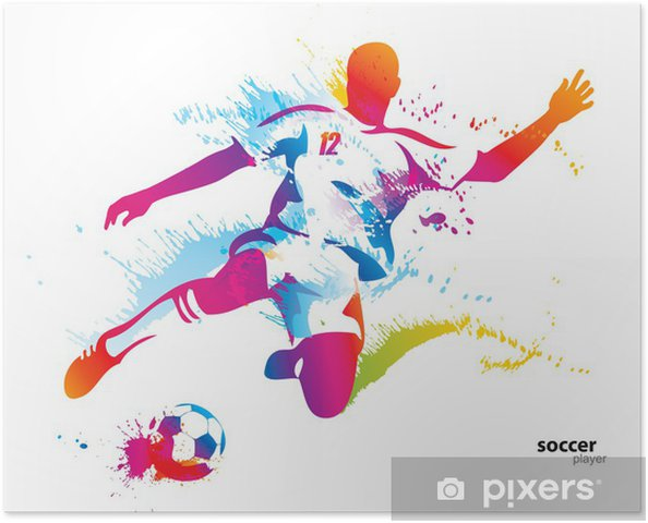 Poster Football joueur botte le ballon. L'illustration vectorielle colorée - Destin
