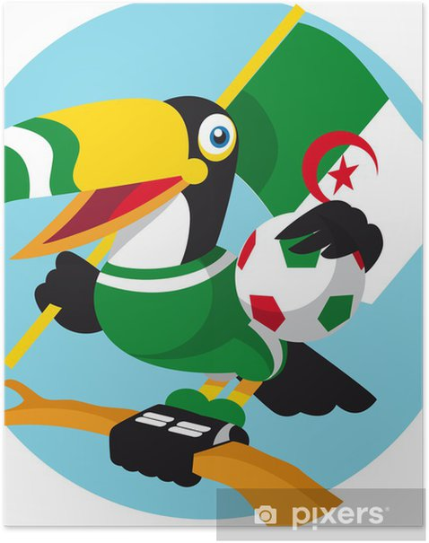 Poster Football mascotte - Matchs et compétition