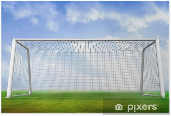 Football pitch and goal under blue sky Poster • Pixers® • We live to ... d5b2ec47875df
