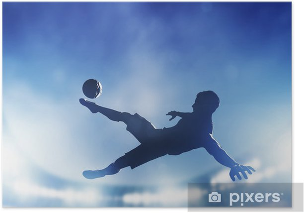 Football, soccer match. A player shooting on goal Poster - Themes