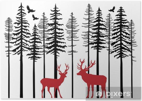 Poster Forêt de sapin avec des rennes, vecteur -