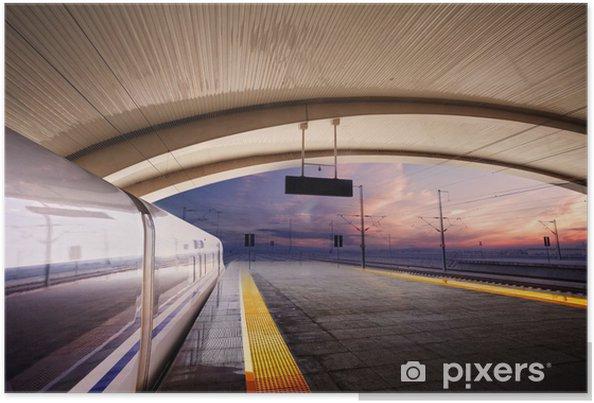 Poster Former s'arrêter à la gare avec coucher de soleil - Les gares et le métro