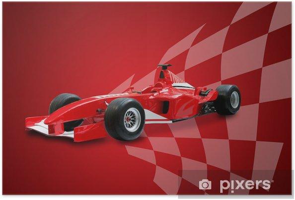 Póster Fórmula roja y la bandera de un coche de carreras - Temas