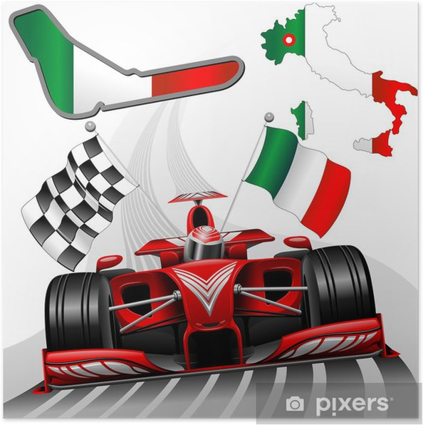 Poster Formule 1 Red Race Car GP Monza Italië - Thema's
