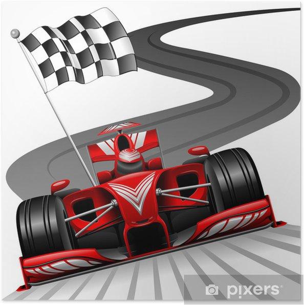 Poster Formule 1 Rode Auto op Race Track - Muursticker