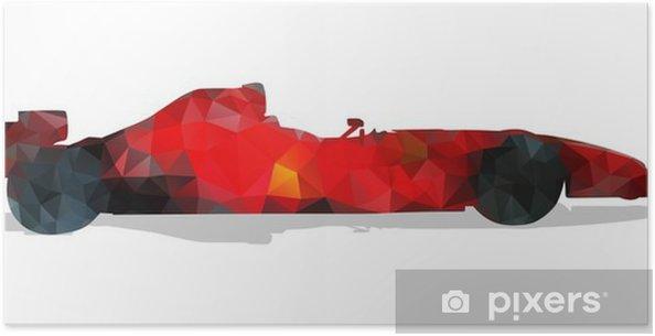 Poster Formule racewagen. Rode abstracte geometrische vector illustratie. - Sport