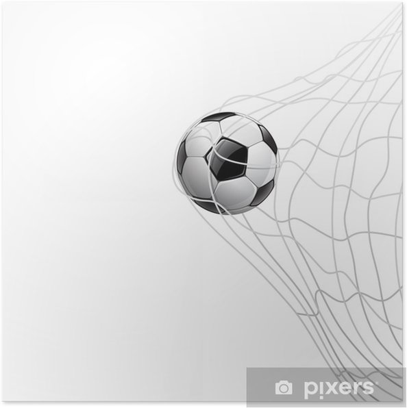 Poster Fotboll i nät. på mål 625b9ccc9a2c3