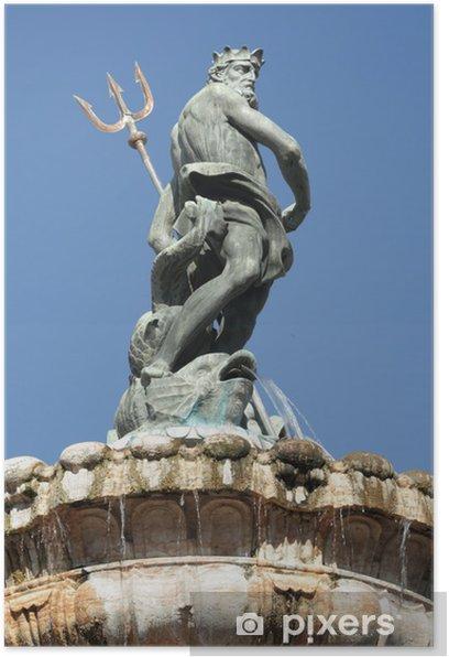Fountain of Neptune in italian town Trento Poster - Europe