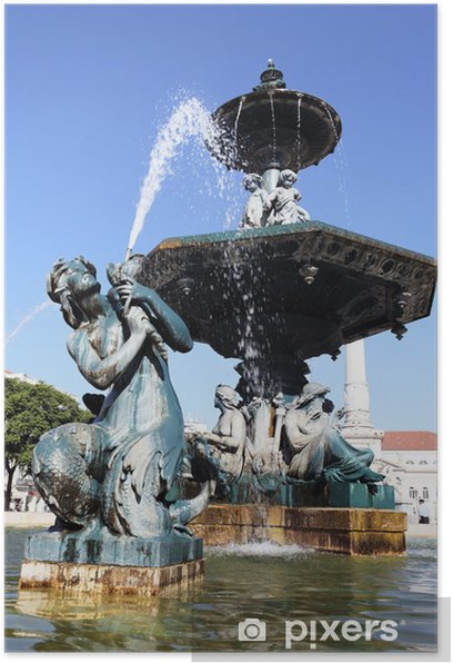 fountain on rossio square in Lisbon Poster - European Cities