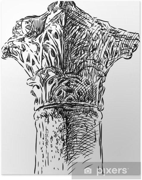 Poster Fragment de colonne antique - Bâtiments publics